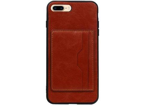 Staand Back Cover 2 Pasjes voor iPhone 8 Plus Bruin