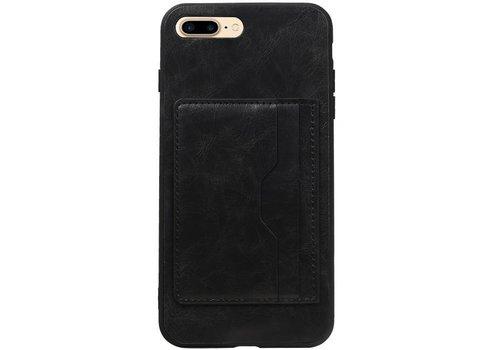 Staand Back Cover 2 Pasjes voor iPhone 8 Plus Zwart
