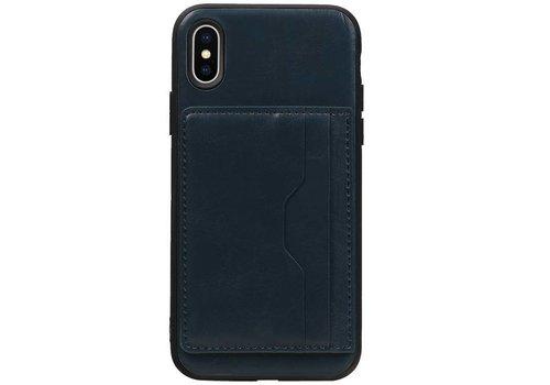 Staand Back Cover 2 Pasjes voor iPhone X Navy
