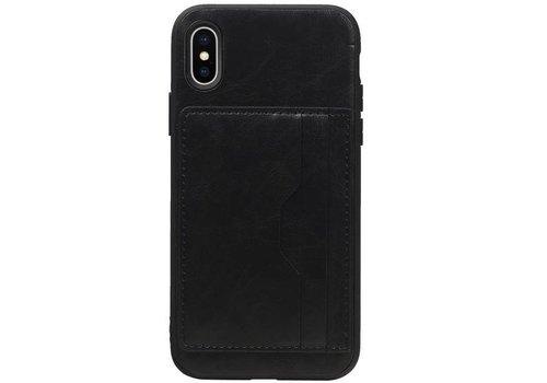 Staand Back Cover 2 Pasjes voor iPhone X Zwart