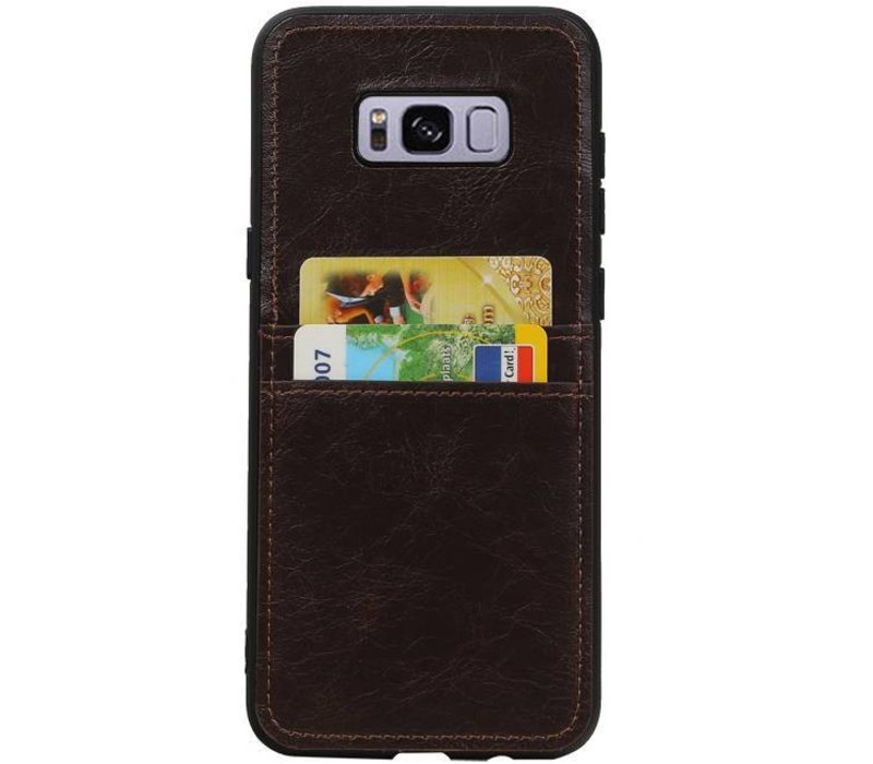 Back Cover 2 Pasjes voor Galaxy S8 Plus Mocca