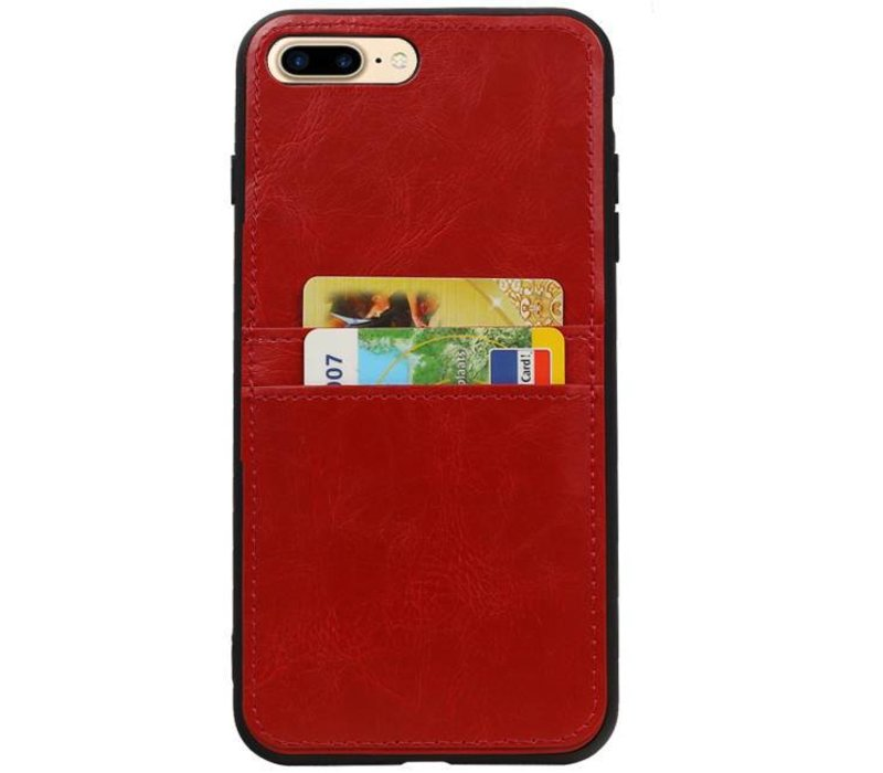 Back Cover 2 Pasjes voor iPhone 8 Plus Rood