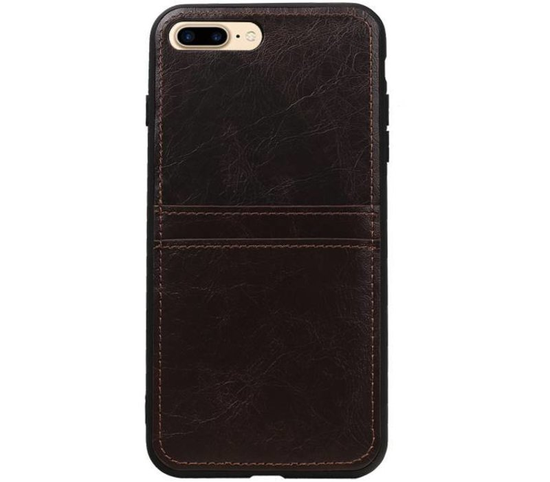 Back Cover 2 Pasjes voor iPhone 8 Plus Mocca