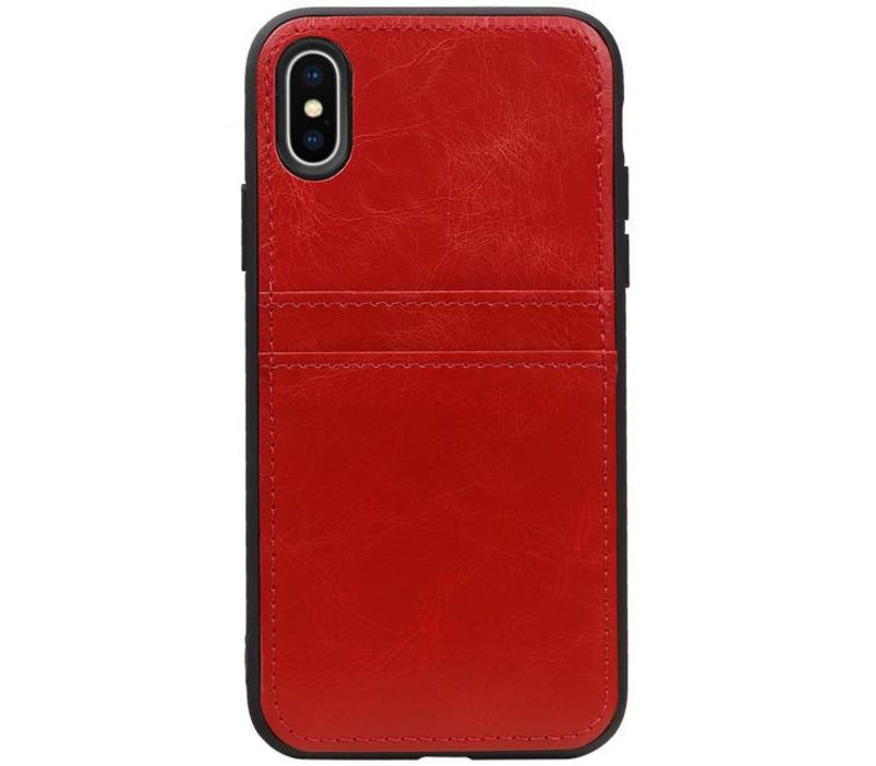 Back Cover 2 Pasjes voor iPhone X Rood