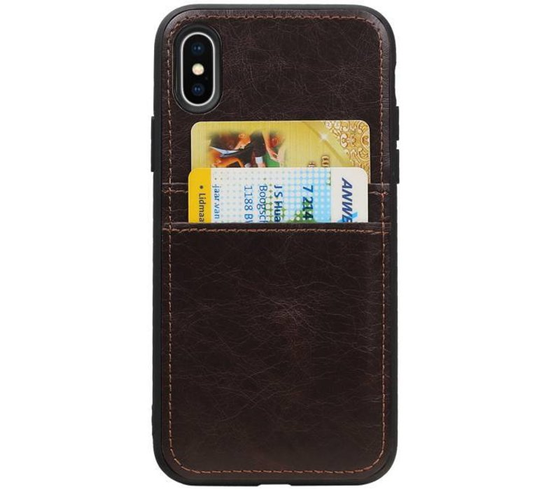 Back Cover 2 Pasjes voor iPhone X Mocca