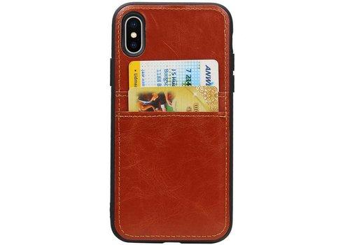 Back Cover 2 Pasjes voor iPhone X Bruin