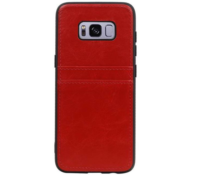 Back Cover 2 Pasjes voor Galaxy S8 Rood
