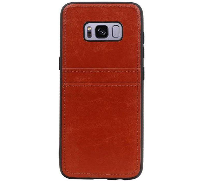 Back Cover 2 Pasjes voor Galaxy S8 Bruin