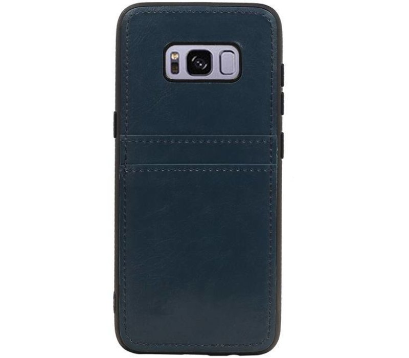 Back Cover 2 Pasjes voor Galaxy S8 Navy