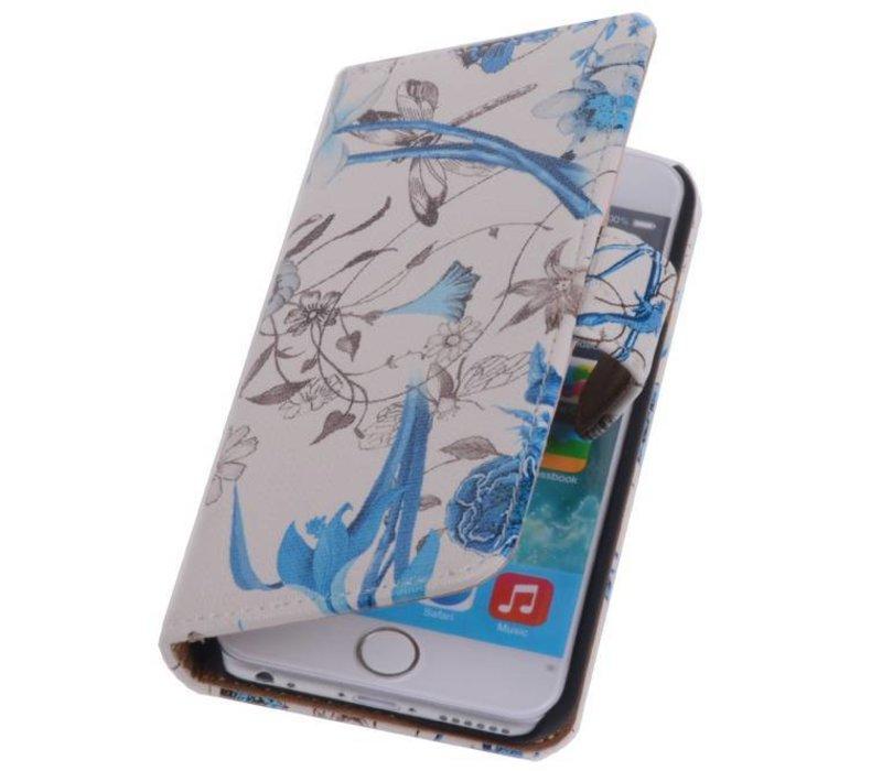 Bloemen Bookstyle Hoes voor iPhone 6 Blauw