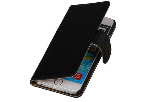 Washed Leer Bookstyle Hoes voor iPhone 6 Plus Zwart