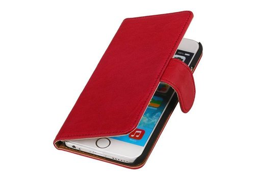 Washed Leer Bookstyle Hoes voor iPhone 6 Plus Roze