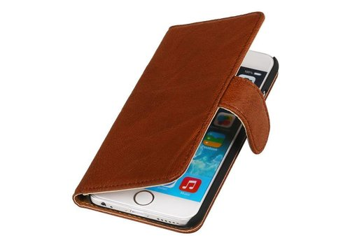 Washed Leer Bookstyle Hoes voor iPhone 6 Plus Bruin