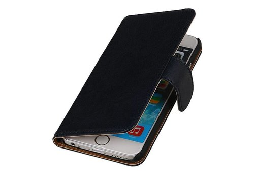 Washed Leer Bookstyle Hoes voor iPhone 6 Plus Donker Blauw