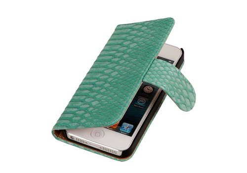 Snake Bookstyle Hoes voor iPhone 6 Plus Turquoise