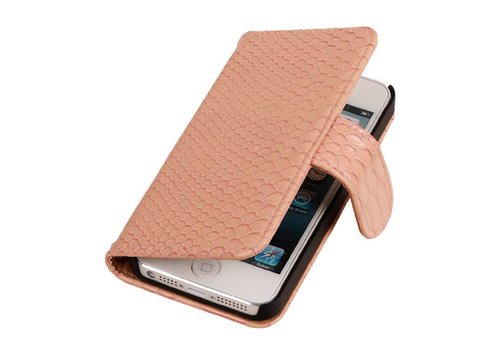 Snake Bookstyle Hoes voor iPhone 6 Plus Licht Roze