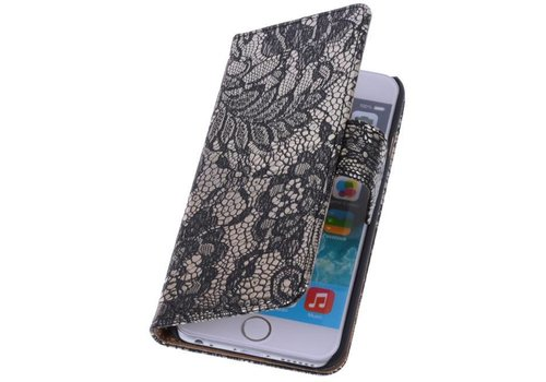 Lace Bookstyle Hoes voor iPhone 6 Plus Zwart