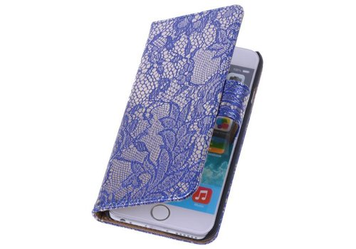 Lace Bookstyle Hoes voor iPhone 6 Plus Blauw