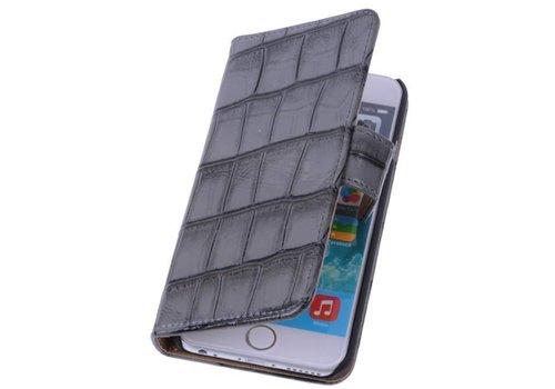 Glans Croco Bookstyle Hoes voor iPhone 6 Plus Grijs