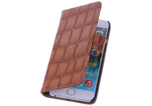Glans Croco Bookstyle Hoes voor iPhone 6 Plus Bruin