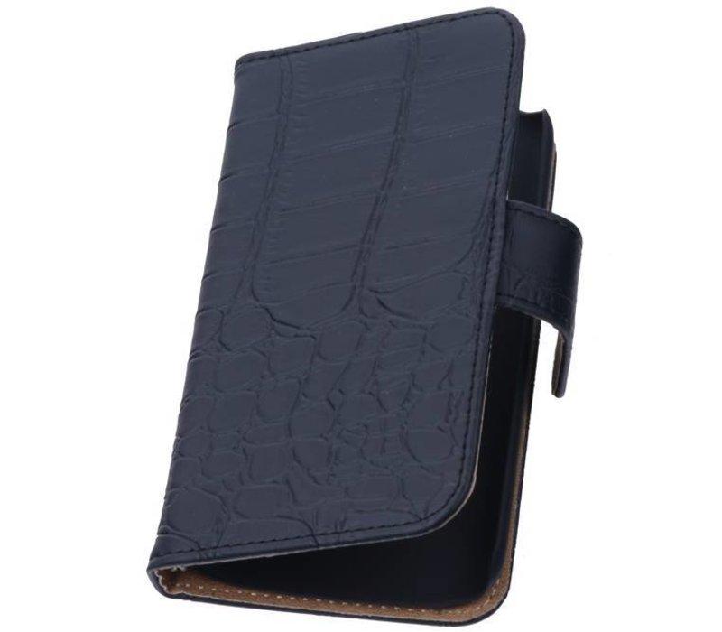 Croco Bookstyle Hoes voor iPhone 6 Plus Zwart