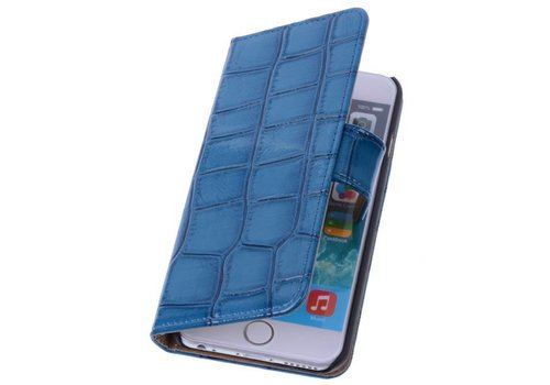 Glans Croco Bookstyle Hoes voor iPhone 6 Blauw