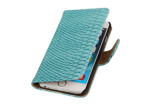 Snake Bookstyle Hoes voor iPhone 6 Turquiose