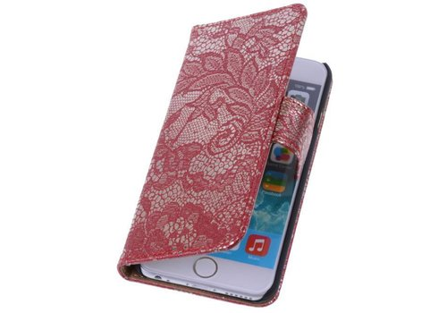 Lace Bookstyle Hoes voor iPhone 6 Rood