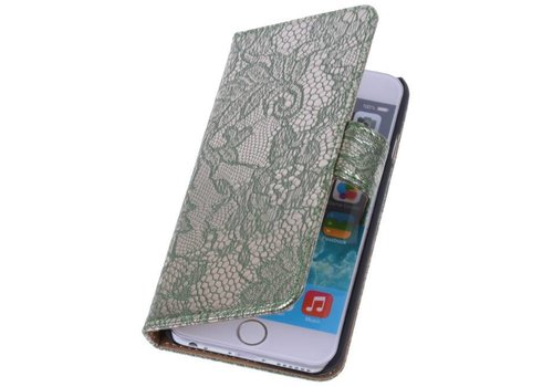 Lace Bookstyle Hoes voor iPhone 6 Donker Groen