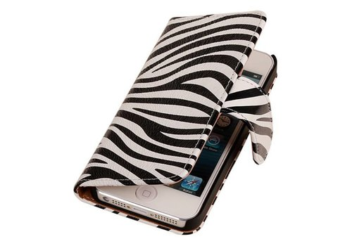 Zebra Bookstyle Hoes voor iPhone 6 Wit