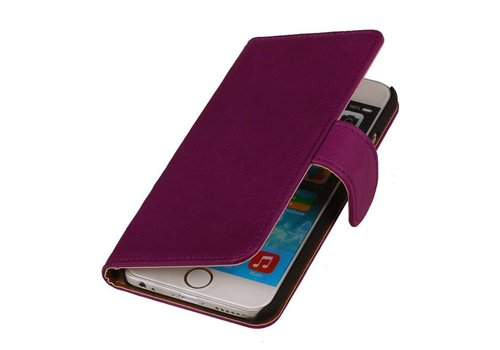 Washed Leer Bookstyle Hoes voor iPhone 6 Plus Paars