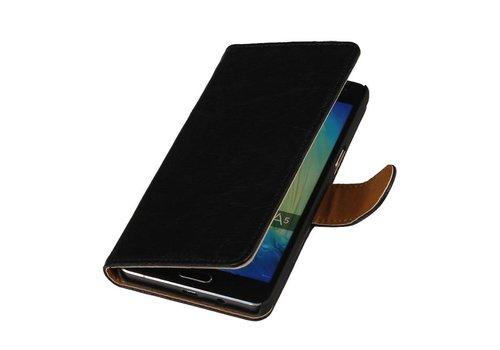 Washed Leer Bookstyle Hoes voor iPhone 6 Zwart