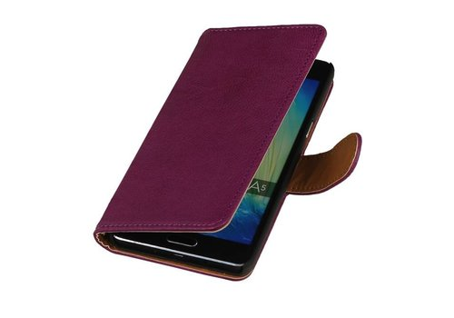 Washed Leer Bookstyle Hoes voor iPhone 6 Paars