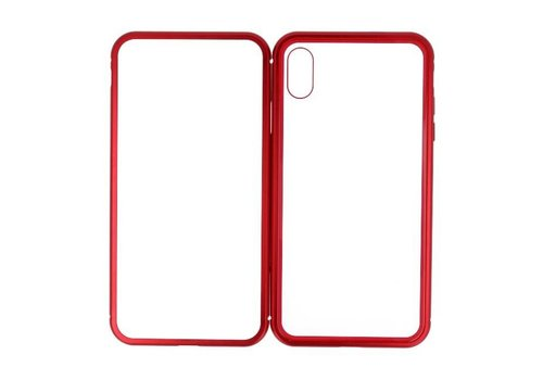 Magnetic Back Cover voor iPhone XS Max Rood - Transparant