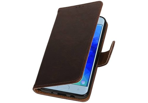 Pull Up Bookstyle voor Samsung Galaxy J4 2018 Mocca