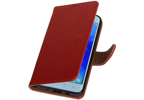 Pull Up Bookstyle voor Samsung Galaxy J4 2018 Rood