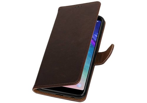 Pull Up Bookstyle voor Samsung Galaxy A6 Plus 2018 Mocca