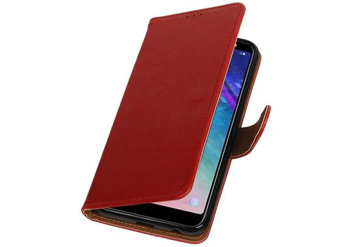 Pull Up Bookstyle voor Samsung Galaxy A6 Plus 2018 Rood