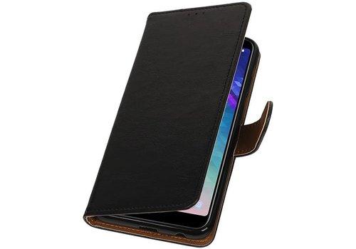 Pull Up Bookstyle voor Samsung Galaxy A6 Plus 2018 Zwart