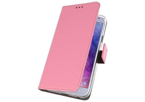 Wallet Cases Hoesje voor Galaxy J4 2018 Roze