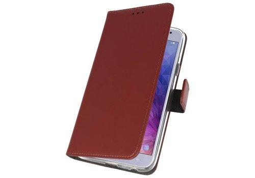 Wallet Cases Hoesje voor Galaxy J4 2018 Bruin