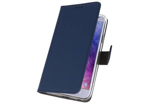 Wallet Cases Hoesje voor Galaxy J4 2018 Navy