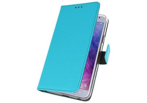 Wallet Cases Hoesje voor Galaxy J4 2018 Blauw