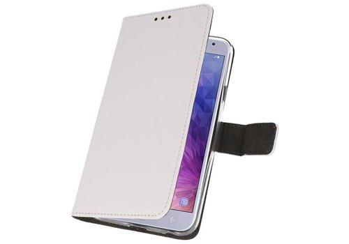Wallet Cases Hoesje voor Galaxy J4 2018 Wit