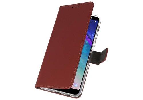 Wallet Cases Hoesje voor Galaxy A6 Plus (2018) Bruin