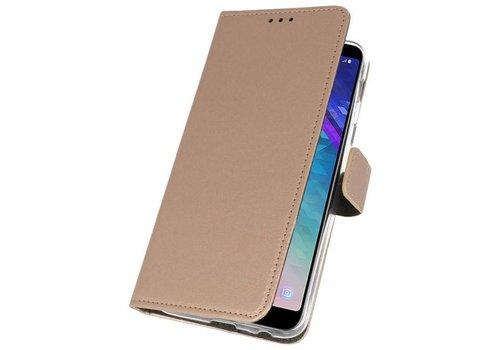 Wallet Cases Hoesje voor Galaxy A6 Plus (2018) Goud
