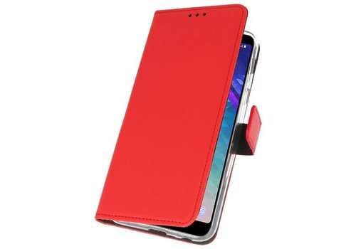 Wallet Cases Hoesje voor Galaxy A6 Plus (2018) Rood