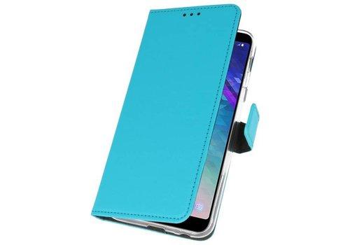 Wallet Cases Hoesje voor Galaxy A6 Plus (2018) Blauw