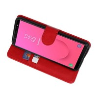 Bookstyle Wallet Cases Hoesje voor Galaxy J8 Rood