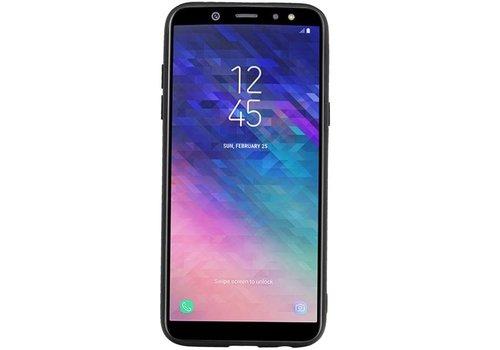 Staand Back Cover 1 Pasjes voor Galaxy A6 2018 Zwart